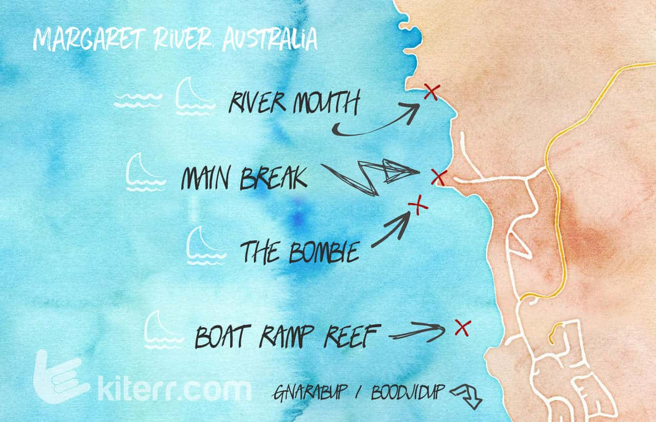 The best kitesurfing spots in Margaret River. Western Australia - Spot guide & Map // Kiterr.com