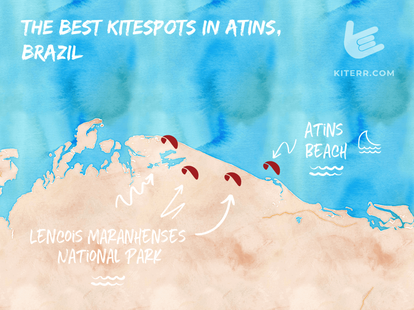 The best kitesurfing spots in Brazil - Atins - map & spot guide // Kiterr.com