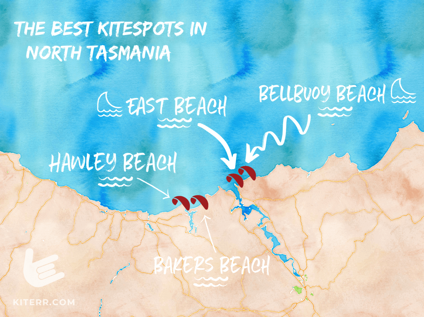 a map of kiteboarding spots in North Tasmania // Kiterrcom