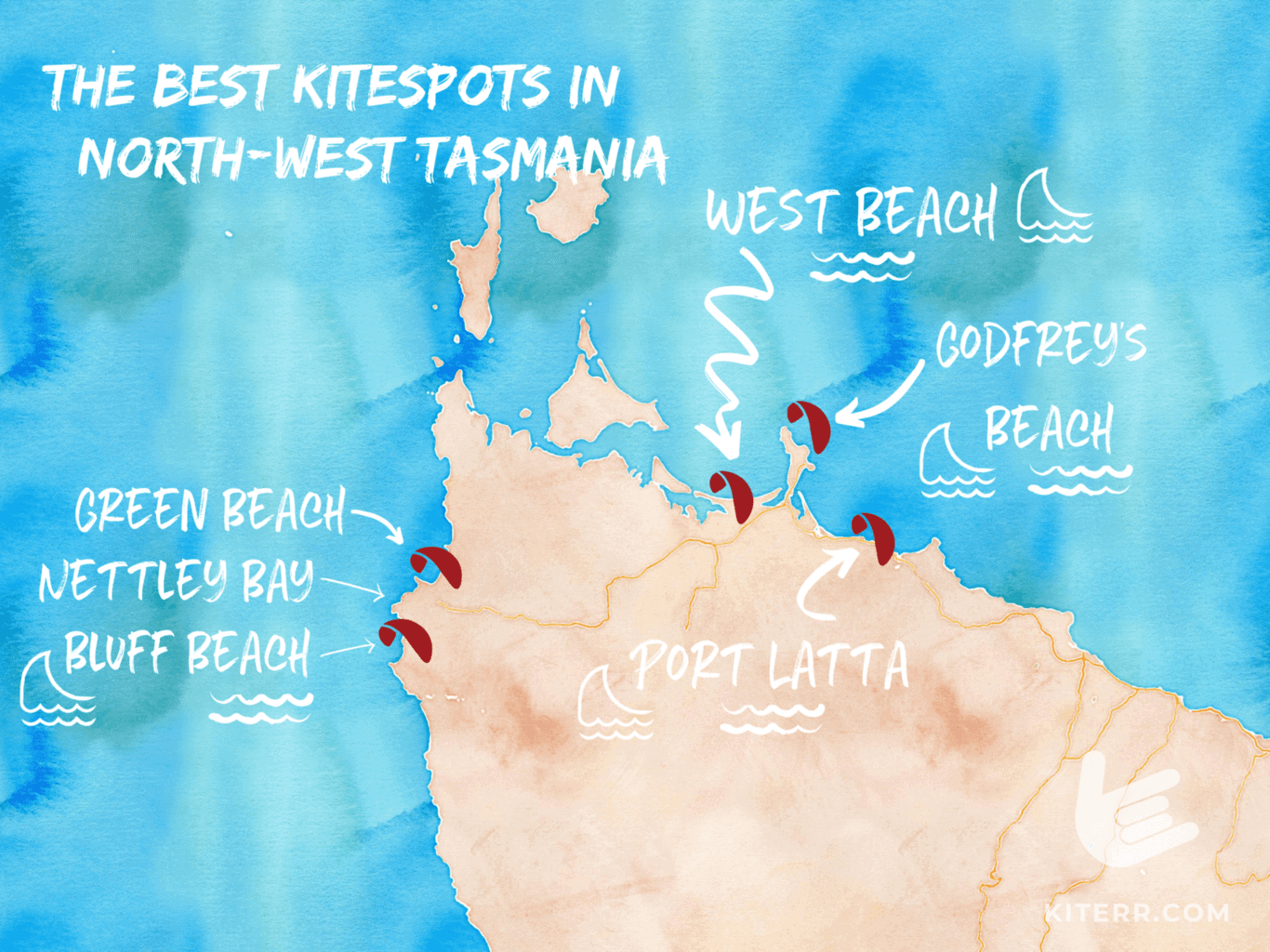 The best kitesurfing spots in North-West Tasmania // Kiterr.com