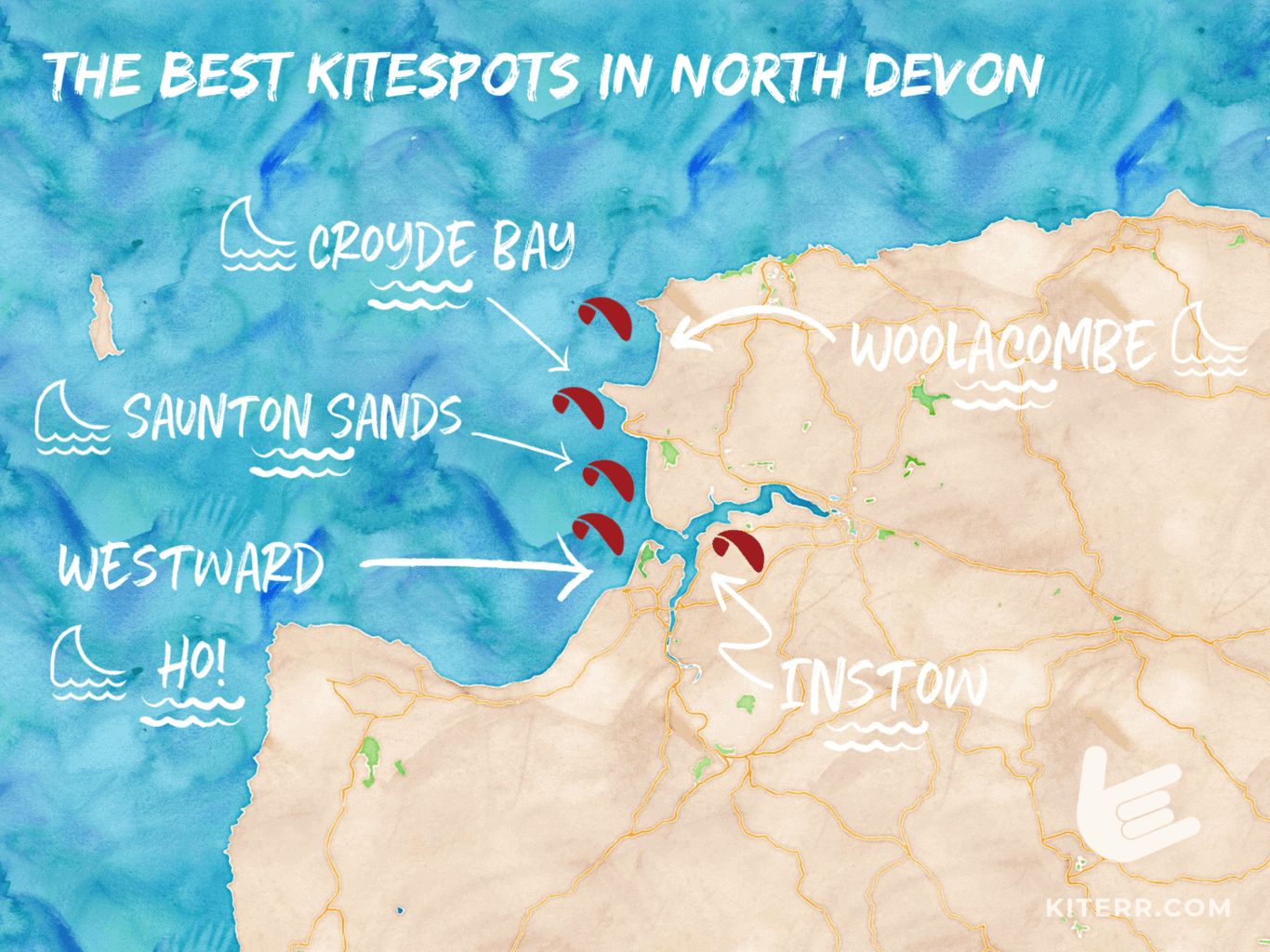 The best kiteboarding spots in Westward Ho! & North of Devon, UK - map & spot guide // Kiterr.com