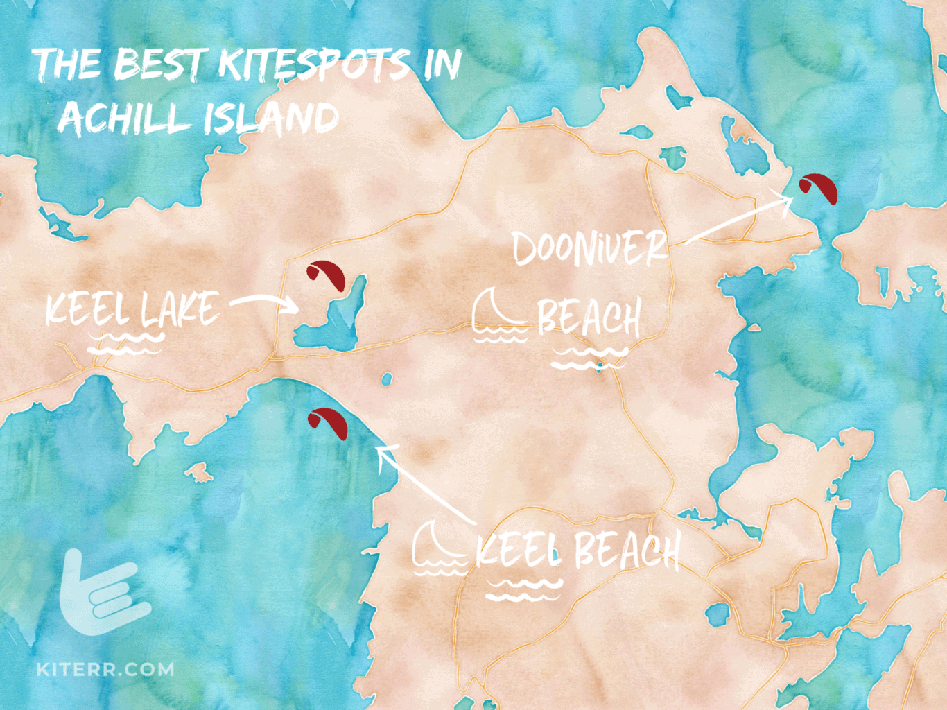 A map of the best kiteboarding spots in Ireland's Achill Island // Kiterrcom