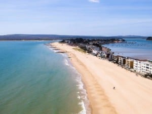 A view of the Sandbanks Beach with Poole Harbour, Dorset // Kiterr.com