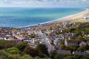 A view of Fortuneswell village and Chesil Beach, Weymouth, Dorset // Kiterr.com